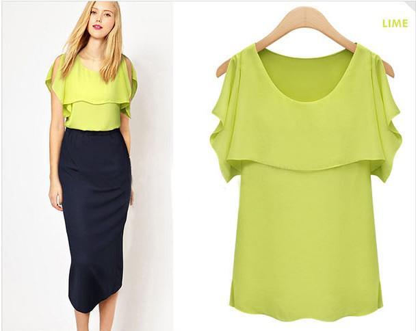 Новые женские летние шифоновые рубашки с коротким рукавом моды круг воротник лотоса рукава