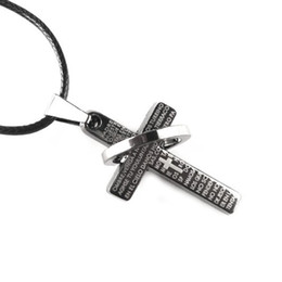 Wholesale Packing Bag Free Present - 50pcs Packing Bag Free Present When Buying Free Shipping Titanium Steel Mens Cross Necklace Leather String 15pcs lot
