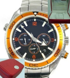 Canada Usine Vendeur Luxe Mer Planète Océan Acier Inoxydable Noir Hommes Montre Mécanique Automatique Orange Lunette Hommes Sport Montres Boîte Originale cheap planet ocean orange bezel automatic Offre