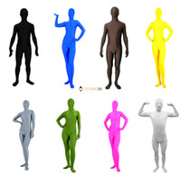 Wholesale Blue White Zentai - wholesale Solid Color Lycra Spandex Zentai Suits: Black, White, Red, Blue, Green, etc.