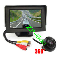 "Wholesale Car Monitor Cables - Waterproof CCD Car Car Rear View Reversing Camera 360 + 4.3"" Car LCD Monitor Kit with 5M cable Free Shipping"