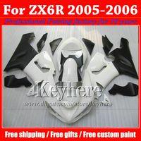 Wholesale Kawasaki Ninja Body Kit Parts - 7 gifts ! ABS fairing body kit for KAWASAKI ZX 6R Ninja ZX6R 2005 2006 plastic white black motobike parts ZX-6R 05 06 with 7 gifts gk55