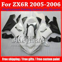 7 regalos! Kit de carrocería de carenado ABS para KAWASAKI ZX 6R Ninja ZX6R 2005 2006 piezas de motobike negro de plástico blanco ZX-6R 05 06 con 7 regalos gk55 desde fabricantes