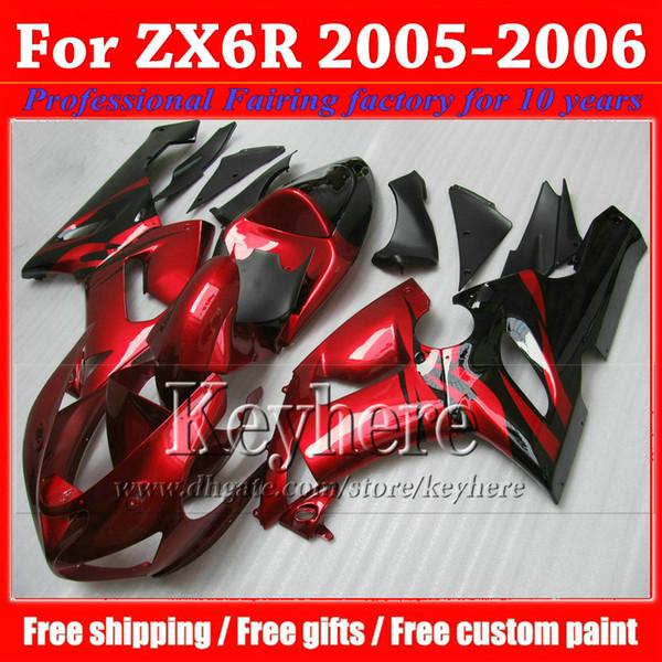 Kit carene ABS prezzo basso per KAWASAKI 2005 2006 ZX 6R Ninja rosso brillante nero carrozzeria carrozzeria ZX6R ZX-6R 05 06 con 7 regali gk64