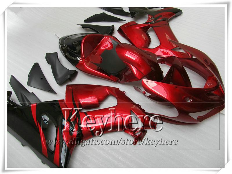 Kit carene ABS prezzo basso KAWASAKI 2005 2006 ZX 6R Ninja rosso brillante nero carrozzeria carrozzeria ZX6R ZX-6R 05 06 con 7 regali gk64