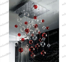 Wholesale Clear Glass Ball Pendant Lights - LLFA1393 Red & Clear Glass Bubbles Ball Chandelier Light Pendant Lamp Fixture