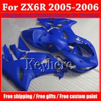 carenagem inferior para kawasaki ninja venda por atacado-Kit de carenagens de baixo preço ABS para KAWASAKI 2005 2006 ZX 6R Ninja puro azul corpo da motocicleta personalizada trabalho ZX6R ZX-6R 05 06 com 7 presentes gk73