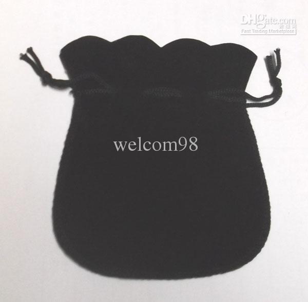 Black Velvet Jewelry Torby Worzane Na Wyświetlacz Opakowania Dla Moda Prezent Craft Kolczyk Ring Naszyjnik 100 sztuk / partia B06