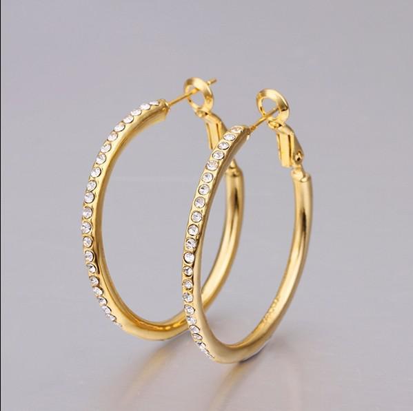 Mode Prom Sieraden 18K Vergulde Rhinestone Crystal Hoop Oorbellen Topkwaliteit Gratis verzending /