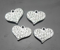 Wholesale Rhinestone Strips - 100pcs lot silver rhinestones heart alloy hang pendant charms fit for diy pet collar phone strips