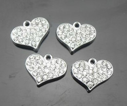 Wholesale Rhinestone Pendant Charm Pet - 100pcs lot silver rhinestones heart alloy hang pendant charms fit for diy pet collar phone strips