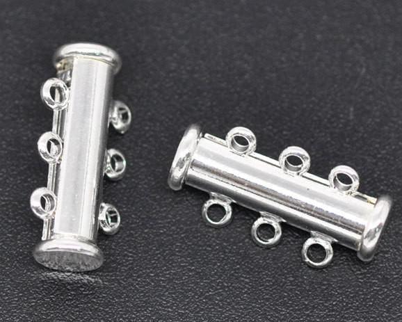 Imitatie rhodium vergulde 3strands magnetische glijplaatjes 20x10mm sieraden bevindingen groothandel