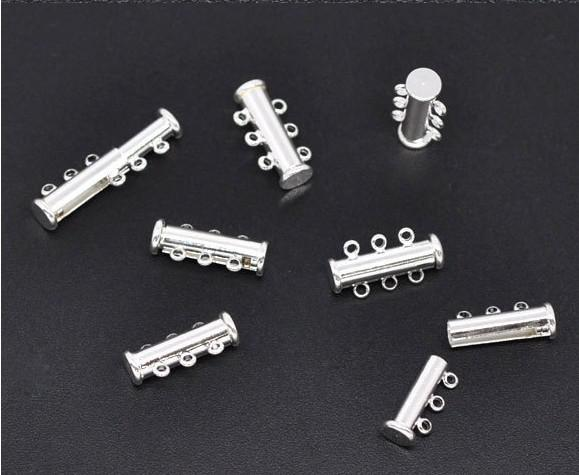 Imitation rhodium plated 3Strands Magnetic Slide Clasps 20x10mm Jewelry Findings Wholesales