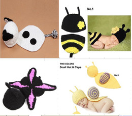 Wholesale Snail Crochet - Pure handmade infant toddler baby panda snail bees butterfly modelling pure wool hat newborn photography props beanies caps 5pcs lot QS356
