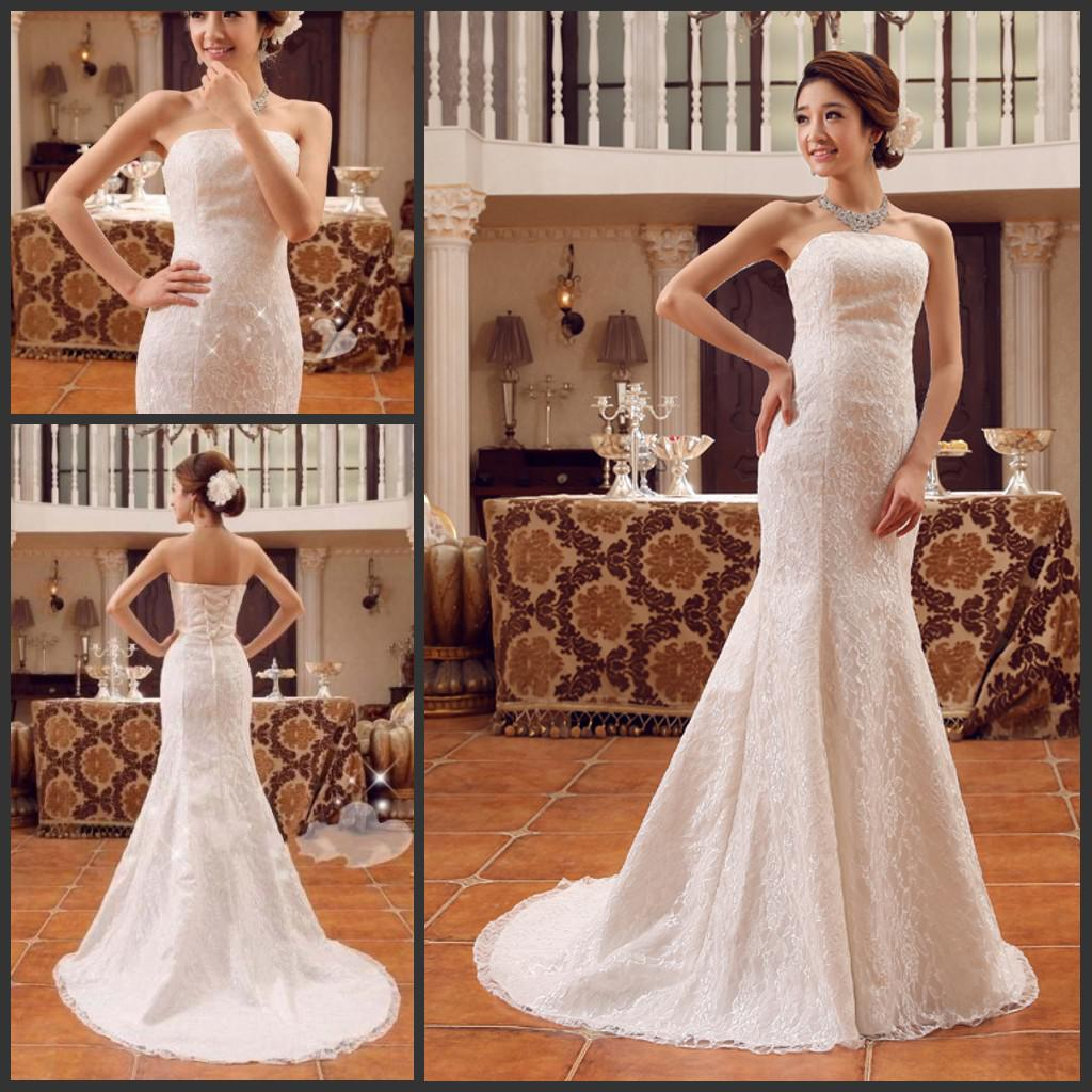 Mermaid Lace Wedding Dresses Under 100 Strapless Fishtail Chapel ...