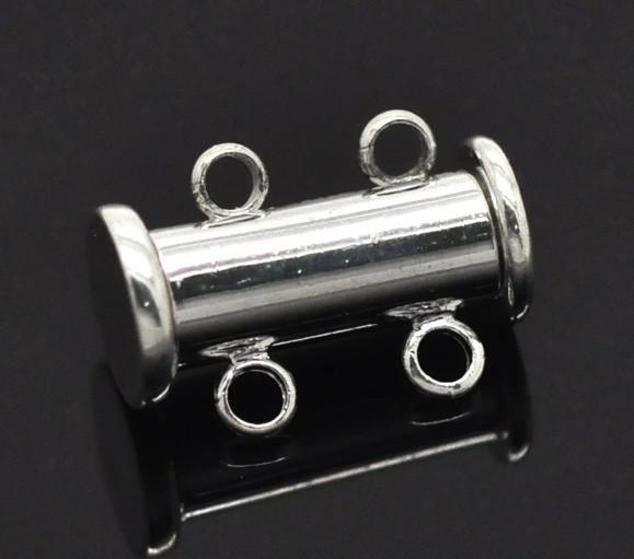 Free Shipping,Imitation platinum plated 2 Strands Magnetic Slide Clasps 16x10mm Wholesales