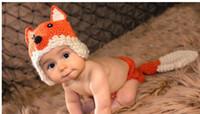 ingrosso cappelli di volpe di volpe-Pure a mano infantile del bambino del coniglio del bambino di modellazione volpe pura lana cappello 2pcs neonati fotografia puntelli Berretti caps 5pcs QS357 /