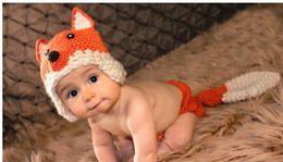 Cappello di volpe appena nato online-Puro handmade del bambino del bambino del bambino coniglio volpe modellazione cappello di lana pura 2 pz set neonato fotografia puntelli cappellini berretti 5 pz / lotto QS357