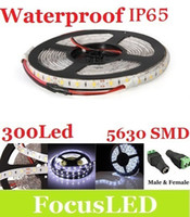 Wholesale Dc Female Male Waterproof - CE ROHS UL + Cool White Waterproof IP65 Led Light Strip 5630 SMD 5M 300 Leds DC 12V + Free Female and Male