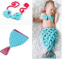 Wholesale Newborn Mermaid Crochet - Infant Toddler Baby Mermaid Modelling Pure Wool Hat 2pcs Set Newborn Photography Props Beanies Caps Pure Handmade 5pcs lot QS359