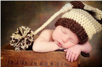 Wholesale Newborn Photography Long Hat - Infant Toddler Baby Long Tail Stripe Pure Wool Hat Newborn Photography Props Beanies Caps Pure Handmade 5pcs lot QS360