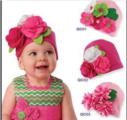 Wholesale Baby Big Flower Crochet Hat - European Style Handmade Big Flower Newborn Toddler Baby Knitted Hat Autumn Winter Children Girls Caps 3 Style 15pcs lot QS361