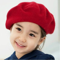Wholesale Kids Red Beret - Fashion Hat Factory Korean Preppy Style Fleece Children Girls Beret Hats Autumn Winter Baby Kids Caps Red Dk Blue And Khaki Colour QS365