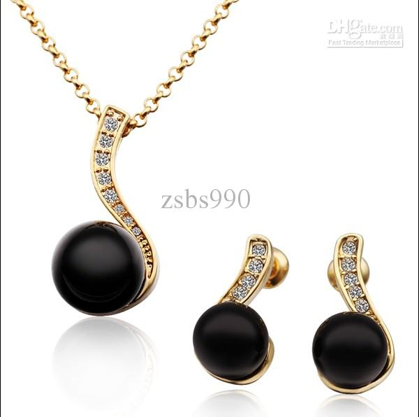 2018 Fashion Jewelry Sets 18k Gold Plated Black Pearl Necklace Amp