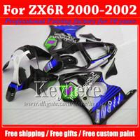 carenado inferior para kawasaki ninja al por mayor-Precio bajo azul negro carenado motobike partes para KAWASAKI Ninja ZX 6R 2000 2001 2002 carenados kit ZX6R 00-02 ZX-6R con 7 regalos fg97