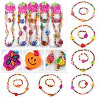 Wholesale Wooden Shaped Beads - 36Sets,Wooden Bead Cute Kid Child Necklace Bracelet Jewelry Set Butterfly Heart Shape Children Bracelets[TN07 08 11 12 44 45(36)]