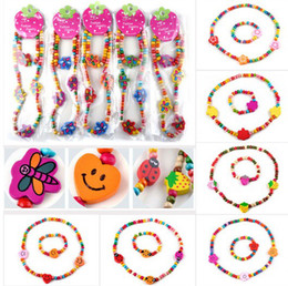 Wholesale Wooden Kids Bracelet - 36Sets,Wooden Bead Cute Kid Child Necklace Bracelet Jewelry Set Butterfly Heart Shape Children Bracelets[TN07 08 11 12 44 45(36)]
