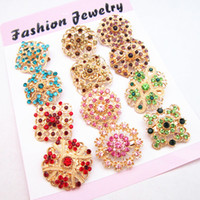 Wholesale Flower Bouquet Jewelry - 12PCS Mixed Gold Flower Brooch Mixed Colorful Crystal Woman Bridal Wedding Bouquet Pin Broaches B651 Pretty Jewelry