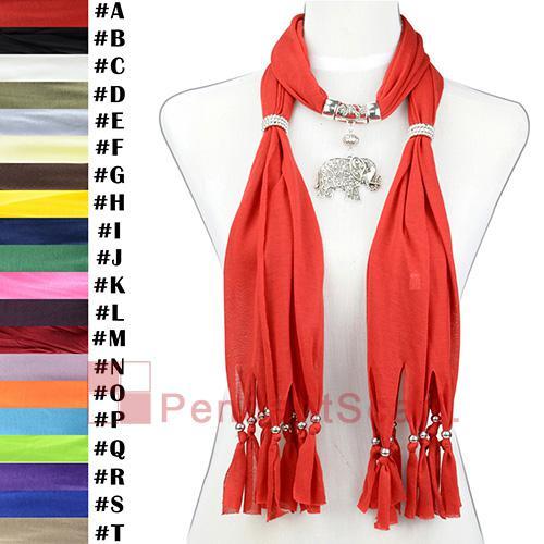 12 UNIDS / LOTE Caliente de La Manera Joyería Collar Rojo Bufanda Colgante Bufanda Con Elegante Aleación Mental Elefante Colgante, Envío Gratis, SC0015A