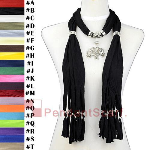 12 UNIDS / LOTE Moda Collar de la Joyería Negro Bufanda Colgante Bufanda Elegante Elegante Colgante de Elefante Con Cuentas Cortas Borla, Envío Gratis, SC0015B