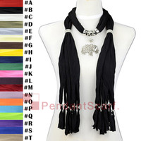 Wholesale Scarves Pendants Short - 12PCS LOT Fashion Black Jewelry Necklace Scarf Pendant Scarf Mental Elagant Elephant Pendant With Short Beads Tassel, Free Shipping,SC0015B