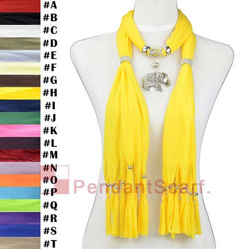 12 stks / partij populaire ketting sieraden sjaal felle gele hanger sjaal met elegante mentale lichtmetalen olifant hanger, gratis verzending, SC0015h