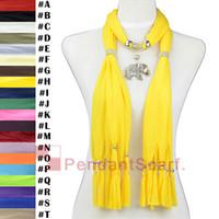 colares de lenço amarelo venda por atacado-12 PÇS / LOTE Popular Colar de Jóias Cachecol Brilhante Amarelo Pingente Cachecol Com Elegante Liga Mental Elefante Pingente, Frete Grátis, SC0015H