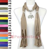 Wholesale Scarf Fashion Beaded Necklaces - 12PCS LOT Elegant Mental Alloy Elephant Pendant Light Brown Necklace Jewelry Scarf Pendant Scarf With Beaded Tassels, Free Shipping, SC0015T