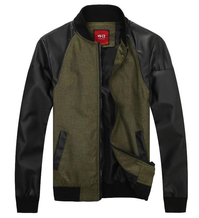 New Spring Autumn Thin Men's Jackets Slim Men Stand-Up Collar Outwear PU