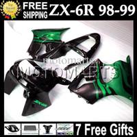 Wholesale Kawasaki Ninja 636 Body Kits - CustomFor Green flames KAWASAKI NINJA 98-99 ZX6R ZX-6R ZX-636 1998 1999 ZX 6R 636 6 R Body MT#622 green blk ZX636 98 99 Fairing Kit+7gifts