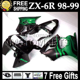 Wholesale Kawasaki Zx6r Fairings 98 - CustomFor Green flames KAWASAKI NINJA 98-99 ZX6R ZX-6R ZX-636 1998 1999 ZX 6R 636 6 R Body MT#622 green blk ZX636 98 99 Fairing Kit+7gifts