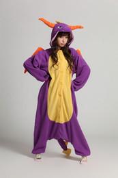 Wholesale Dragon Pajamas - Spyro Dragon Top fleece onesie pajamas pyjamas costume cosplay adult romper S M L XL-