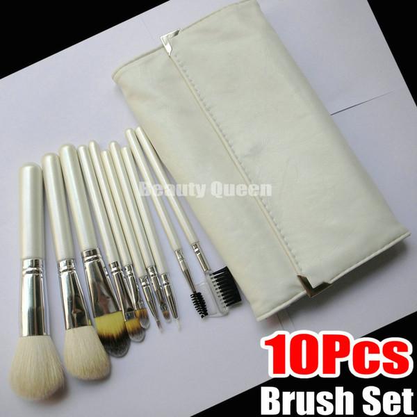Maquillage 10pcs Pro Brosses Brosse de fard à paupières cosmétiques de chèvre cheveux japonais blanc Roll Up Pouch Case