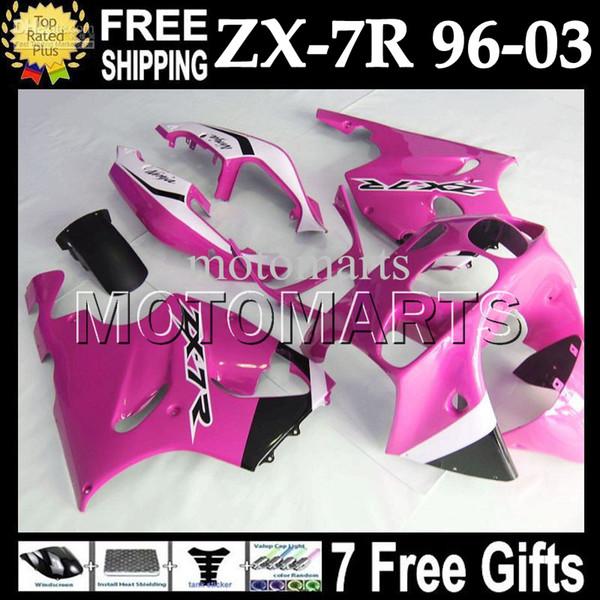 7gifts Rose branco preto Para KAWASAKI 96-03 NINJA ZX7R MT # 1454 PRETO COR-DE-ROSA 96 97 98 99 00 01 02 03 1996 1997 2003 ZX-7R ZX 7R Full Fairings