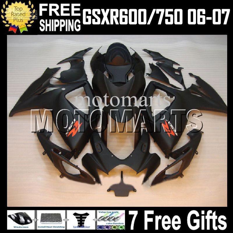 7gifts + Verkleidung für K6 06 07 SUZUKI GSXR600 HOT Flat schwarz GSXR750 MS # 10579 GSX-R600 GSXR 600 750 2006 2007 Mattschwarzes GSX-R750 Verkleidungsgehäuse