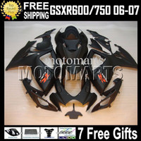 Wholesale Gsx R Matte Black K6 - 7gifts+Cowl For K6 06 07 SUZUKI GSXR600 HOT Flat black GSXR750 MS#10579 GSX-R600 GSXR 600 750 2006 2007 Matte black GSX-R750 Fairing Body