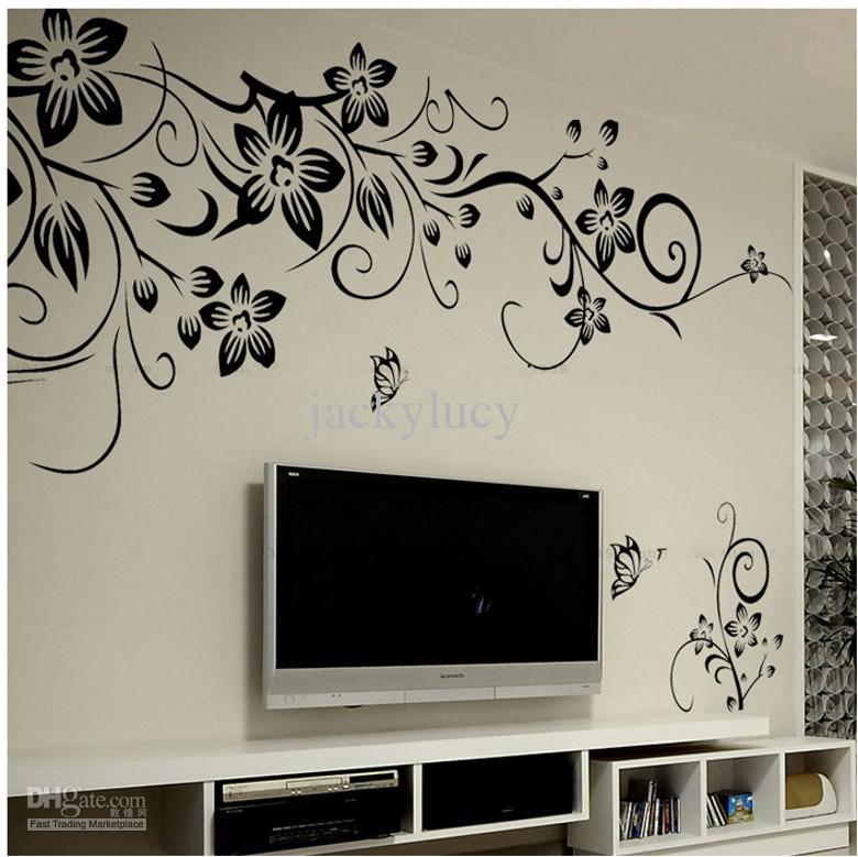 Home Mode Dekoration Schöne Blume Vinyl Tapeten Aufkleber Kunst Aufkleber Wohnzimmer Schlafzimmer Sofa TV Hintergrund Tapeten