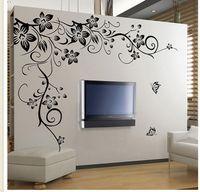 vinil arka plan çıkartması toptan satış-Ev moda dekorasyon Güzel Çiçek Vinil Duvar Kağıdı Çıkartması Art Sticker Oturma odası yatak odası kanepe TV arka plan duvar kağıdı yapıştır