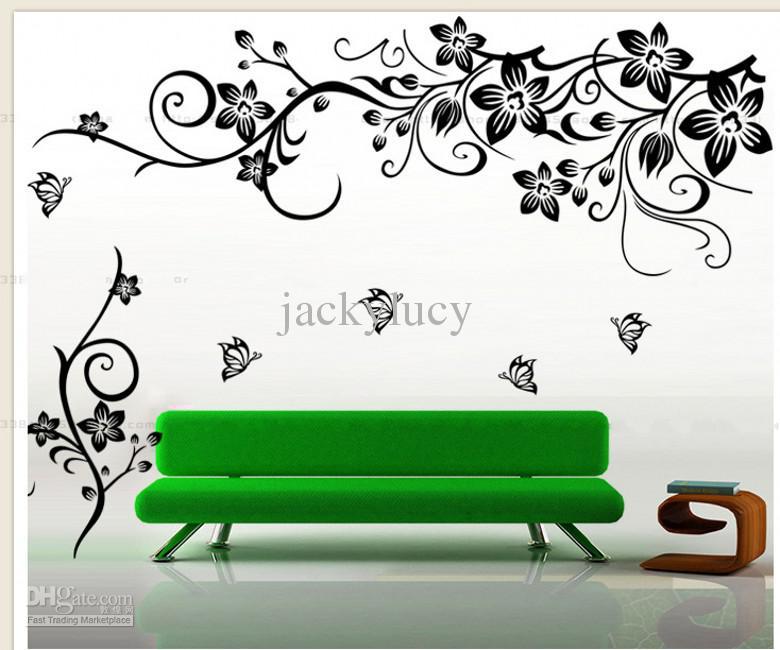 Décoration de mode à la maison Belle Fleur Vinyle Papier Peint Decal Art Autocollant Salon chambre canapé TV fond d'écran pâte