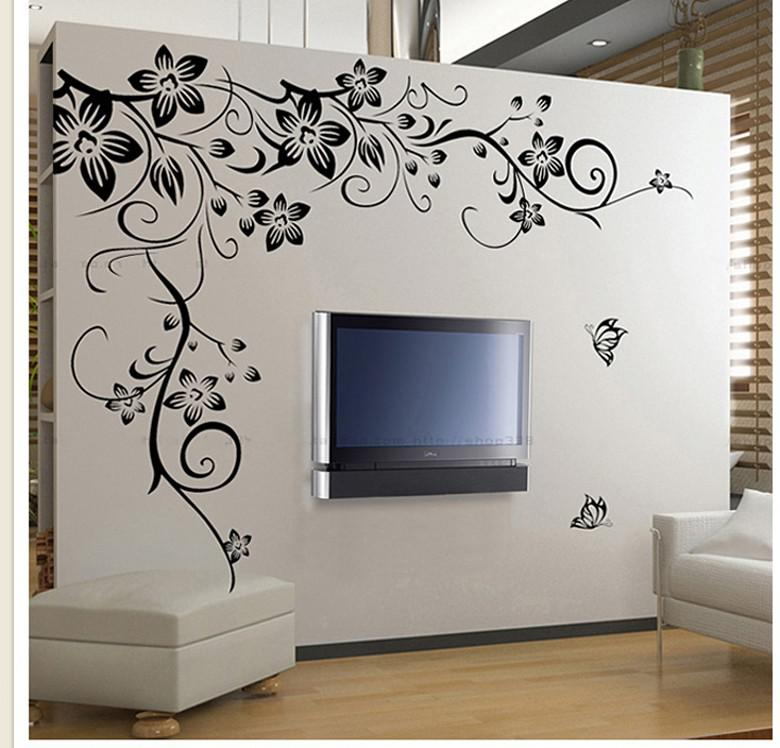 New home fashion decoration beautiful flower vinyl wall - Beautiful wall stickers for living room ...